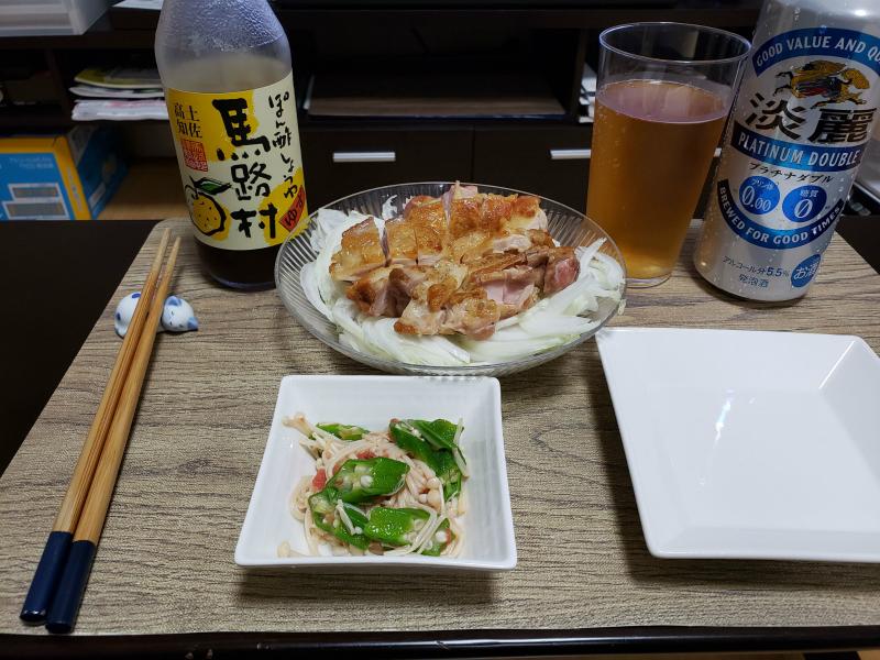 男飯簡単つまみ 「オクラと梅とえのきのネバネバ和え」と「鶏もも肉とオニオンスライス」OTOKOMESHI
